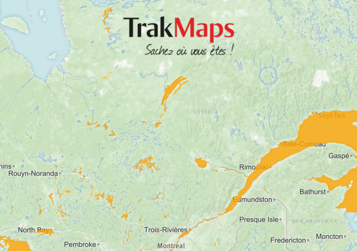 carte gps lac quebec